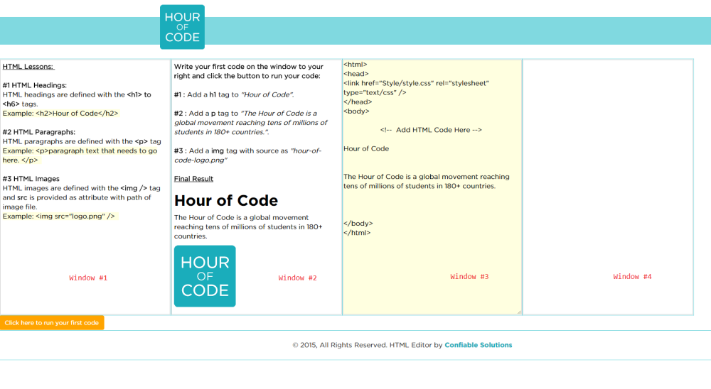 Hour of Code : Offline HTML Web Development (1/6)
